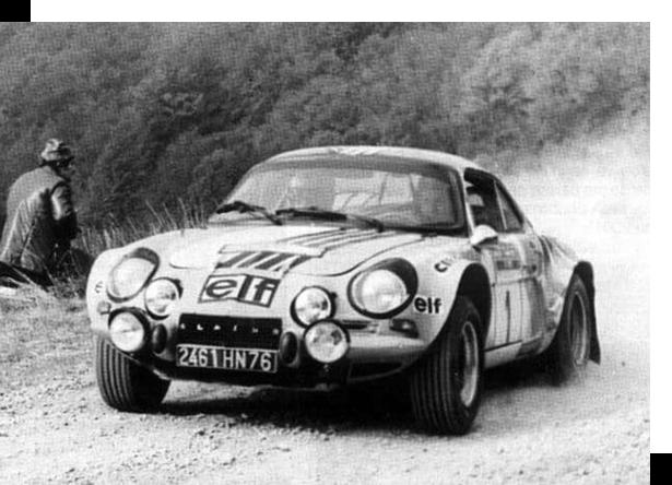 J-L Thérier em 1973, vencedor do Rally San Remo. - Alpine Renault Retail Group